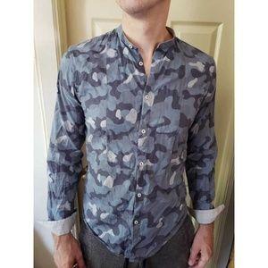 ZARA MAN Blue camo army button down shirt